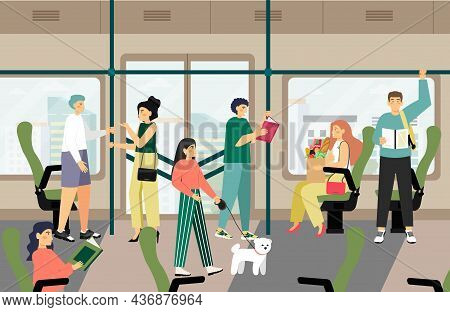 Passengers Traveling By City Metro Train, Vector Illustration. People Commuting To And From Work By