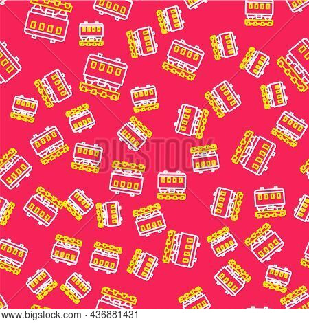 Line Passenger Train Cars Icon Isolated Seamless Pattern On Red Background. Railway Carriage. Vector