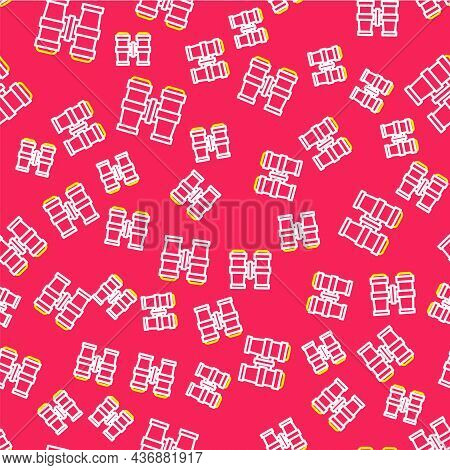 Line Binoculars Icon Isolated Seamless Pattern On Red Background. Find Software Sign. Spy Equipment