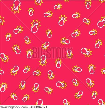 Line Chemical Experiment, Explosion In The Flask Icon Isolated Seamless Pattern On Red Background. C