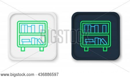 Line Shelf With Books Icon Isolated On White Background. Shelves Sign. Colorful Outline Concept. Vec