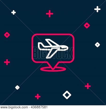 Line Plane Icon Isolated On Blue Background. Flying Airplane Icon. Airliner Sign. Colorful Outline C