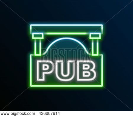 Glowing Neon Line Street Signboard With Inscription Pub Icon Isolated On Black Background. Suitable