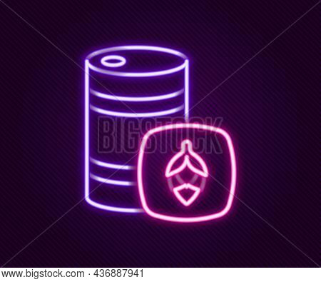 Glowing Neon Line Metal Beer Keg Icon Isolated On Black Background. Colorful Outline Concept. Vector