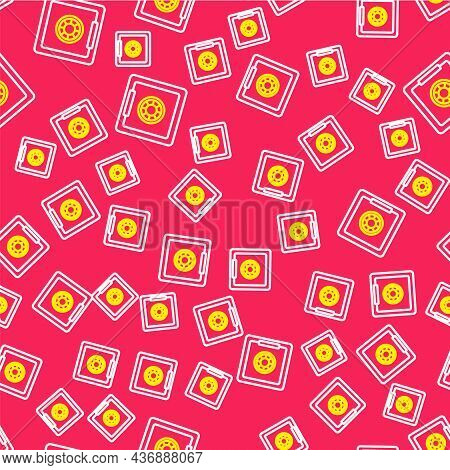 Line Safe Icon Isolated Seamless Pattern On Red Background. The Door Safe A Bank Vault With A Combin