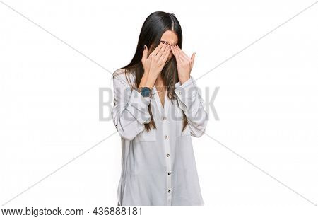 Young beautiful woman wearing casual white shirt rubbing eyes for fatigue and headache, sleepy and tired expression. vision problem