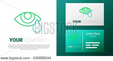 Line Tear Cry Eye Icon Isolated On White Background. Colorful Outline Concept. Vector