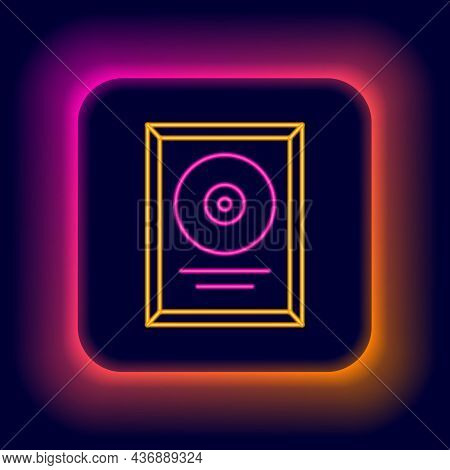 Glowing Neon Line Cd Disk Award In Frame Icon Isolated On Black Background. Modern Ceremony. Best Se