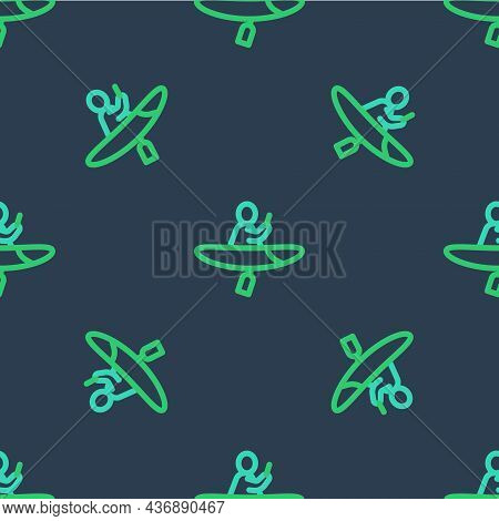 Line Kayak And Paddle Icon Isolated Seamless Pattern On Blue Background. Kayak And Canoe For Fishing