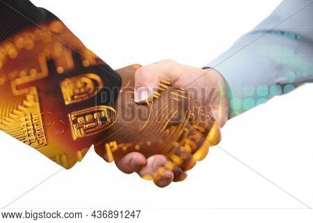 Cryptocurrency investment deal bitcoin busines handshake isolated on white background