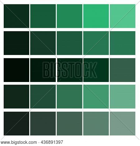 Green Color Palette. Square Elements. Print Design. Set Collection. Abstract Background. Vector Illu