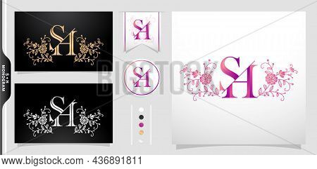 Illustration Of A Monogram Sh Or Hs, Set Of Label Initial Hs Or Sh Letter With Flower Ornament Patte
