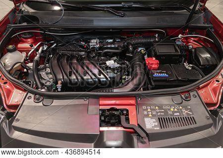 Novosibirsk, Russia - September 12, 2021:  Renault Sandero , Close Up Of A Clean Motor Block. Intern
