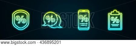 Set Line Loan Percent, Discount Tag, Percent Discount And Mobile And Finance Document. Glowing Neon