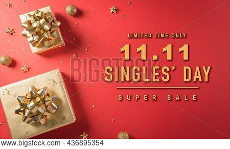 Online Shopping Of China, 11.11 Singles Day Sale Concept. Top View Of Golden Christmas Gift Boxes Wi