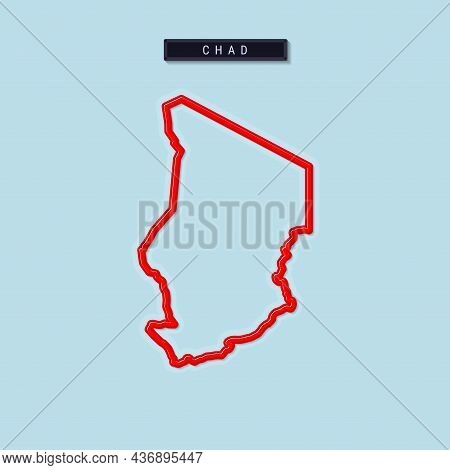 Chad Bold Outline Map. Glossy Red Border With Soft Shadow. Country Name Plate. Vector Illustration.