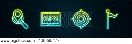 Set Line Search Location, Gps Device With Map, Target Sport And Location Marker. Glowing Neon Icon.