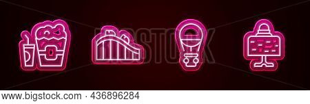 Set Line Popcorn In Box And Glass, Roller Coaster, Hot Air Balloon And Magic Table. Glowing Neon Ico