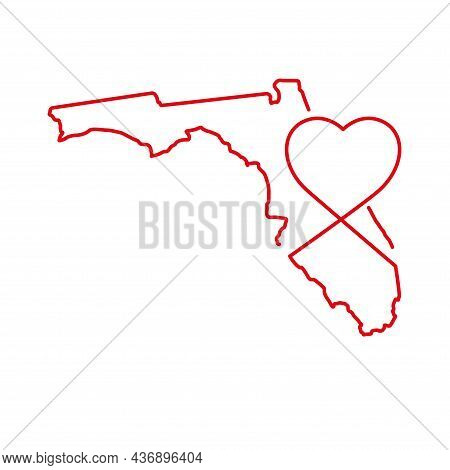 Florida Us State Red Outline Map With The Handwritten Heart Shape. Continuous Line Drawing Of Patrio
