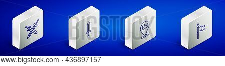 Set Isometric Line Crossed Medieval Sword, Medieval, Location King Crown And Spear Icon. Vector