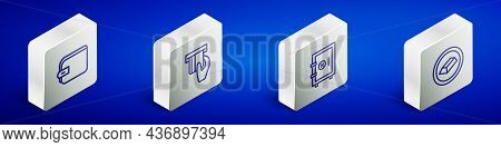 Set Isometric Line Wallet, Credit Card Inserted, Safe And Gold Bars Icon. Vector