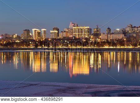 Novosibirsk, Siberia, Russia-03.10.2019: Night Lights On The Embankment Of Novosibirsk. Blue Twiligh