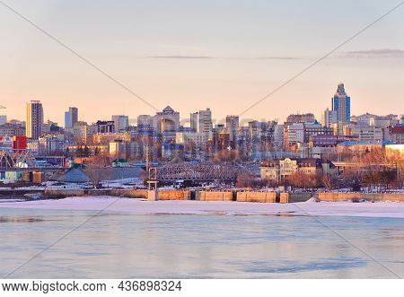 Novosibirsk, Siberia, Russia-03.10.2019: Novosibirsk On The Ob River In The Evening. High Multi-stor