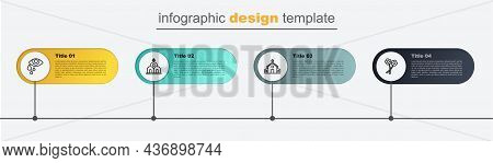 Set Line Flower, Church Building, And Tear Cry Eye. Business Infographic Template. Vector