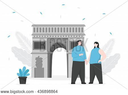 Travel To Paris Or France Vector Illustration Background. Time To Visit For See The Beautiful And Ro