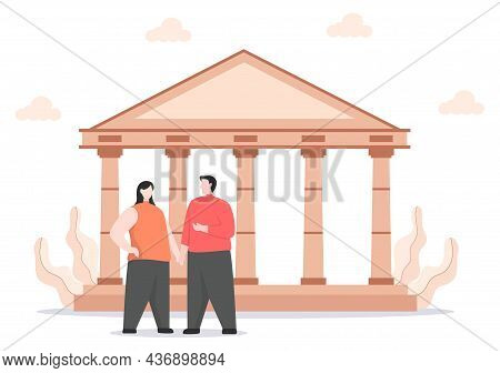 Travel To Greece Background Vector Illustration. Time To Visit The Icon Landmarks Of These World Fam