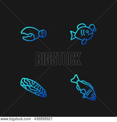 Set Line Fish, Steak, Lobster Or Crab Claw And Tropical Fish. Gradient Color Icons. Vector
