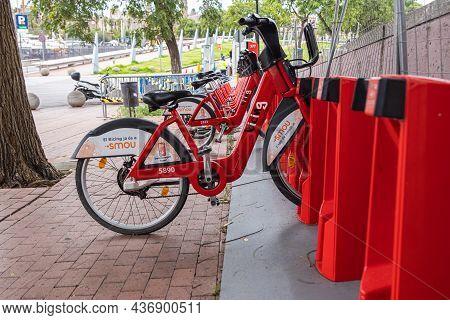 Barcelona, Spain - September 21, 2021: Bike Rack For Rental Bicycles In Barcelona. Bicycle Hire Park