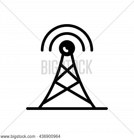 Black Solid Icon For Aerial Antenna Broadcasting Frequency Cellular Connection Network