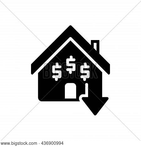 Black Solid Icon For Inexpensive Cheap Low-cost Reduce Price House Mortgage Budget
