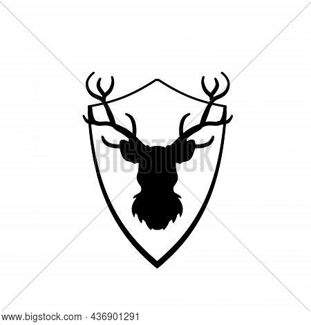 Head Of Deer On Shield. Knight Coat Of Arms With Stag. Black Silhouette Of Horned Animal. Heraldic S
