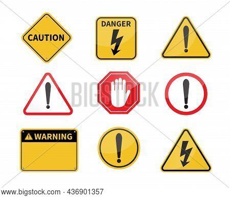 Warning Sign. Blank Warning Sign On White Background. High Voltage Sign. Vector Illustration