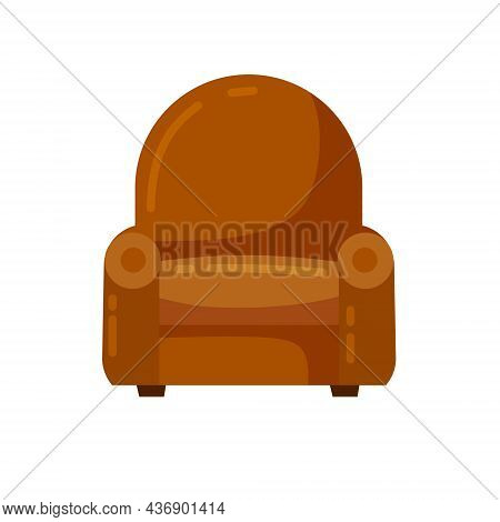 Brown Armchair. Soft Classic Seat. Detail Of Interior Of The Living Room. Flat Cartoon Illustration