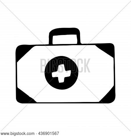 First Aid Kit Hand Drawn Doodle. Vector, Scandinavian, Nordic, Minimalism, Monochrome Icon Treatment