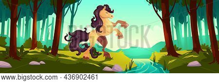 Wild Horse Rearing Up In Summer Forest. Vector Cartoon Illustration Of Stallion And Woodland Landsca