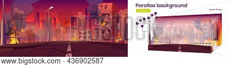 Parallax Background City In Fire, War Destroy, Abandoned Burning Broken Buildings And Bridge 2d City