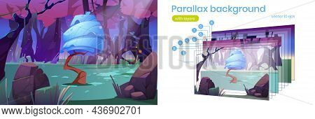 Parallax Background 2d Landscape With Funny Fantasy Tree In Magic Forest. Alien Planet Unusual Natur