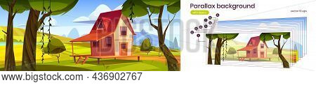 Parallax Background Cottage At Summer 2d Landscape, Wooden House On Stilts On Green Field With Fores