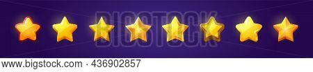Set Of Game Ui Stars, Rate Or Gui Design Elements Yellow Golden Glossy Assets For App User Interface