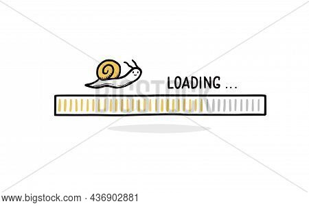 Slow Internet Loading Bar Doodle With Snail. Slow Speed Load Bar Concept. Hand Drawn Line Sketch Sty