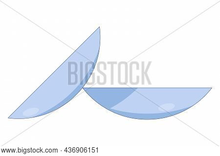 Contact Lenses Template, Close Up Look At Contact Lens Icon In A Flat Style Isolated On A White Back
