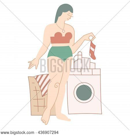 Happy Woman In Laundry. Housework, Home Routine - Isolated Vector Illustration. Lady Wearing Underwe