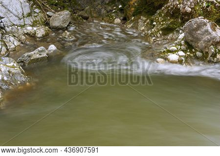 Water Whirl On A Mountain River In Apuseni
