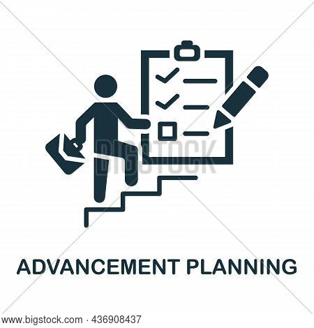 Advancement Planning Icon. Monochrome Sign From Corporate Development Collection. Creative Advanceme