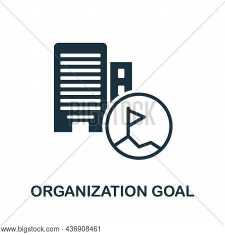 Organization Goal Icon. Monochrome Sign From Corporate Development Collection. Creative Organization