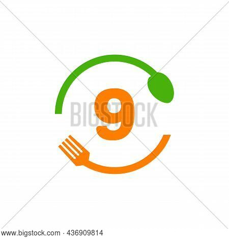 Restaurant Logo Design On Letter 9 With Spoon And Fork Concept Template. Kitchen Tools, Food Icon. C